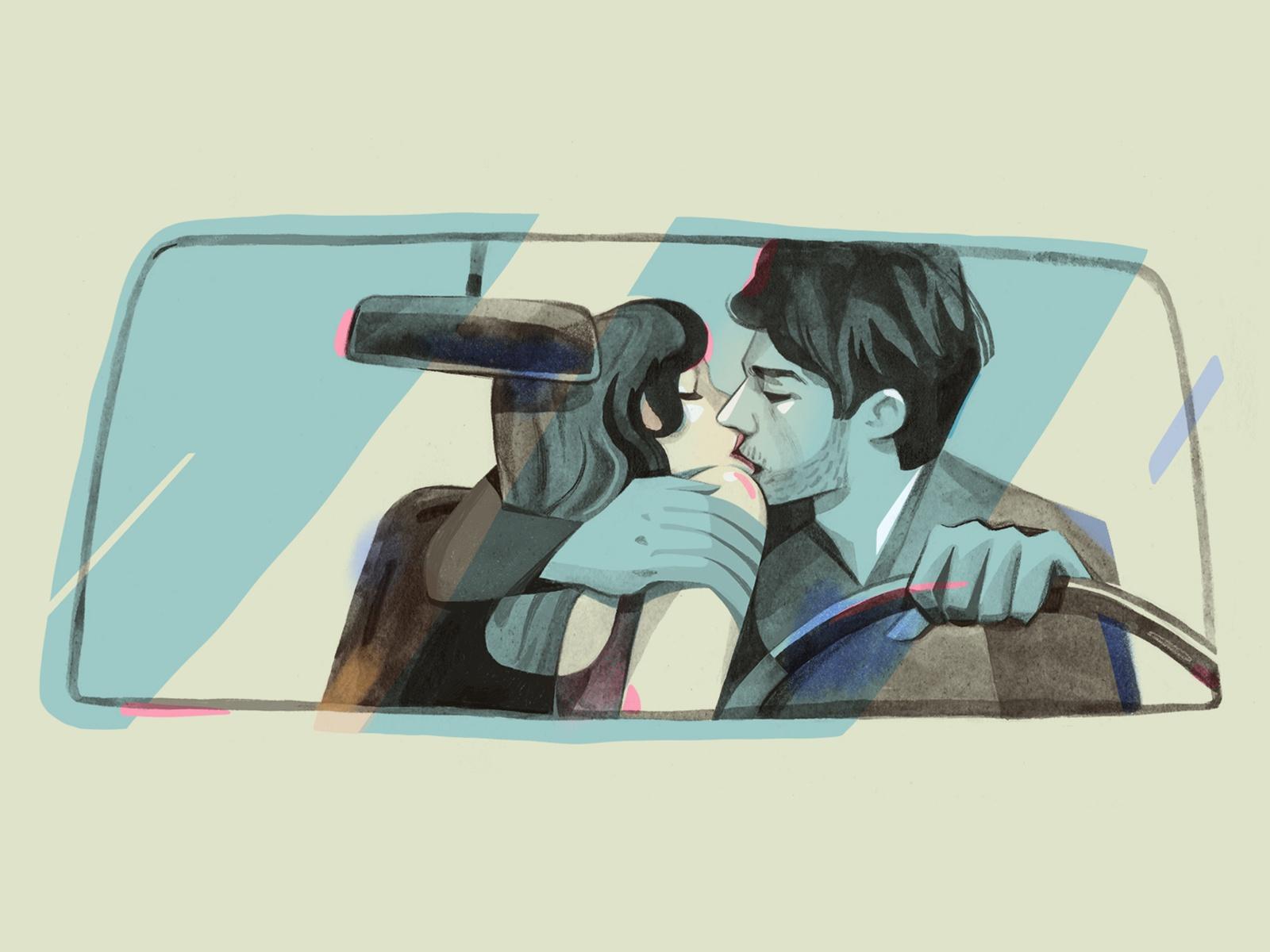 Homem e mulher se beijando em um carro.