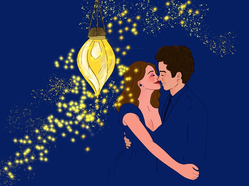 Ilustração de um homem e uma mulher se beijando embaixo de uma lanterna.