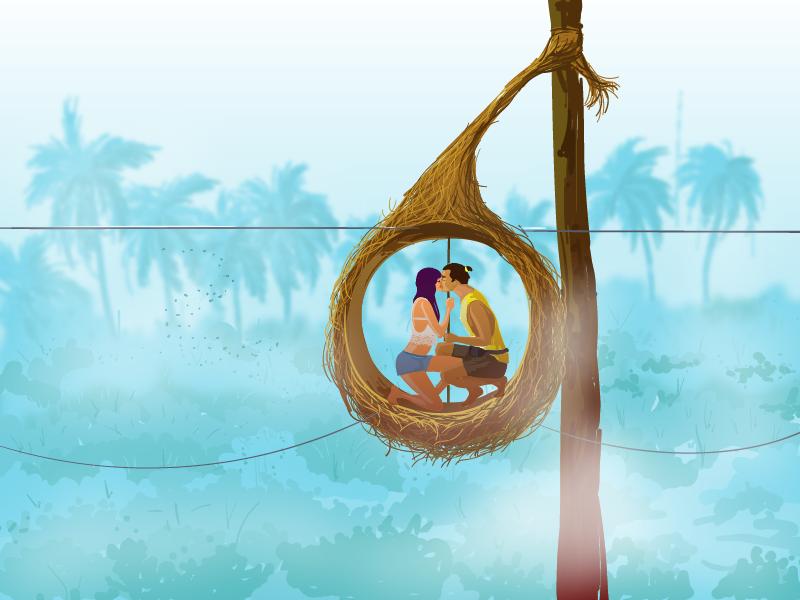 Ilustração de um homem e uma mulher se beijando em um ninho.