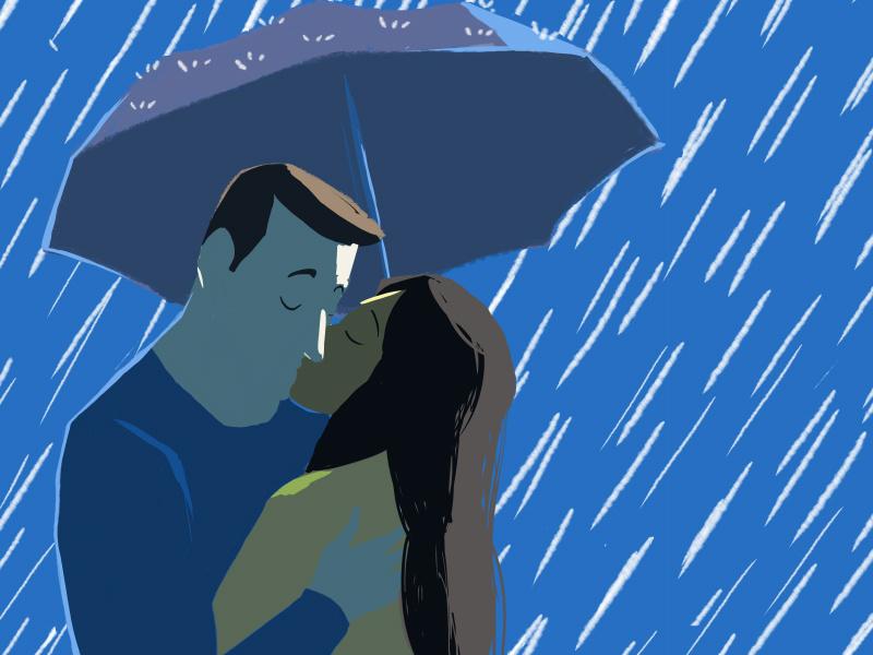 Ilustração de duas pessoas se beijando na chuva.