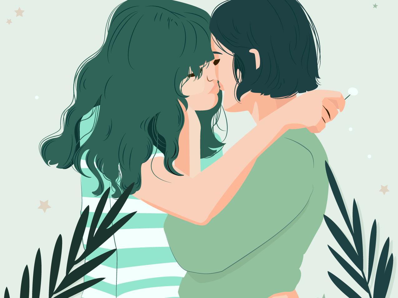 Ilustração de duas mulheres se beijando