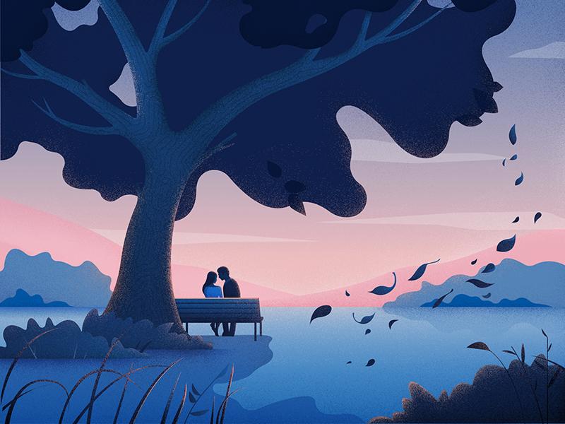 Ilustração de duas pessoas se beijando embaixo de uma árvore.